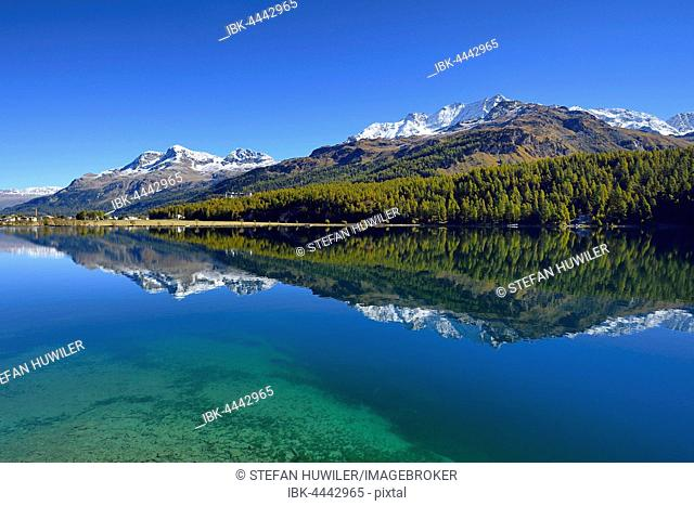 Lake Sils, Piz Corvatsch behind, Sils, Engadin, Canton of Grisons, Switzerland
