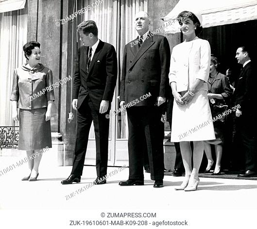 June 1, 1961 - Paris, France - President JOHN F. KENNEDY accompanied by his wife, arrived in Paris for their three day State visit to France