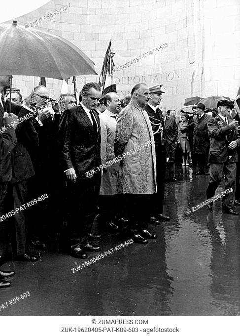 June 28, 1970 - Natzweiler, France - President of the French Republic GEORGES POMPIDOU visits the Natzweiler-Struthof German concentration camp on a rainy day