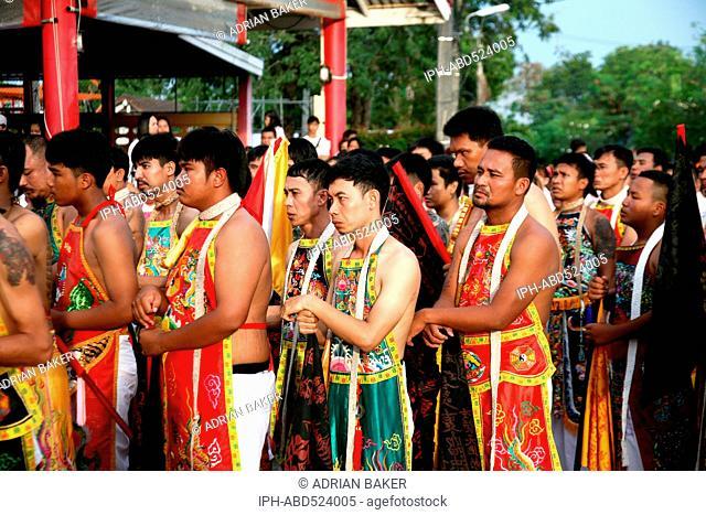 Thailand Phuket Jor Soo Kong Naka Shrine Phuket vegetarian festival (Festival of the Nine Enperor Gods) Raising of the Lantern Pole ceremony
