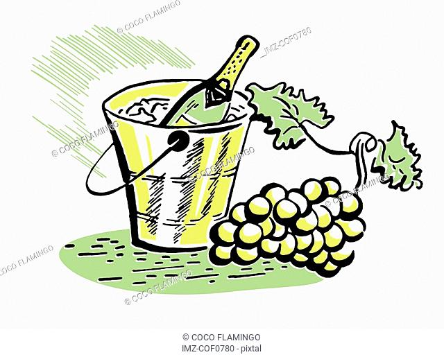 A vintage illustration of a bottle of wine and fresh grapes