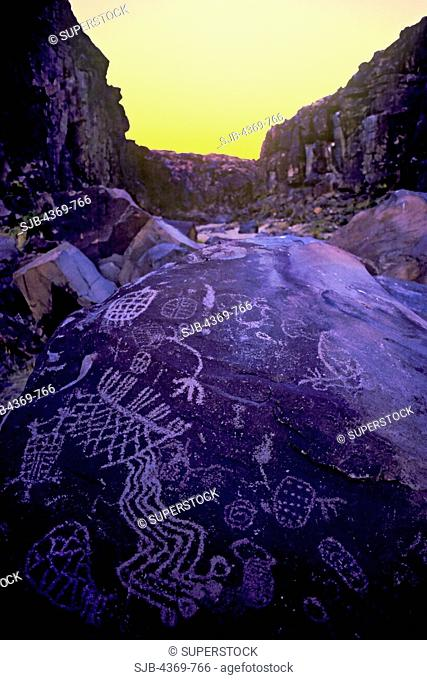 Iny-8 in Renegade Canyon, in the Coso Mountains of California is one of the most spectacular concentrations of rock art in North America