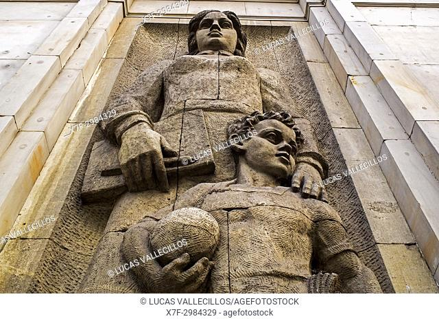 Detail of relief, at Ul. Marszalkowska street ,Communist architecture and urbanism, Warsaw, Poland