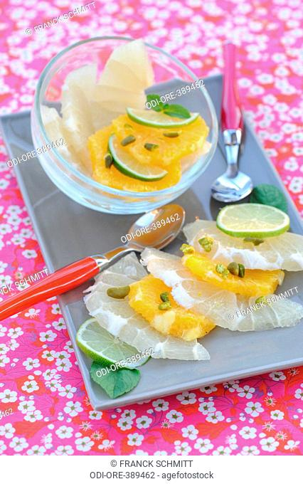 Citrus fruit with rose water