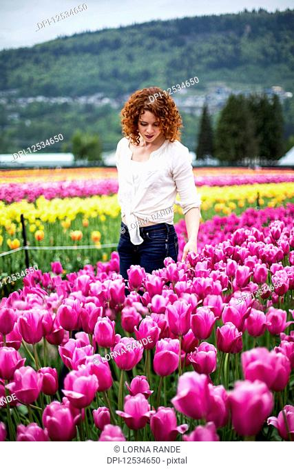 A woman with red hair stands in a field of tulips; Abbotsford, British Columbia, Canada