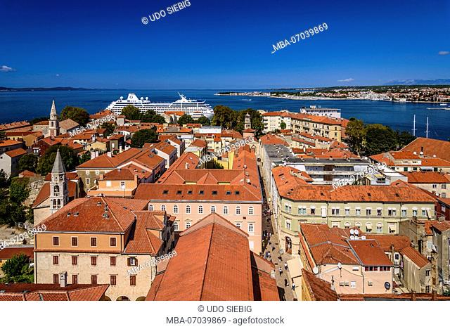 Croatia, Dalmatia, Zadar, view to north over the old town from the belfry of the cathedral Sveta Stosija