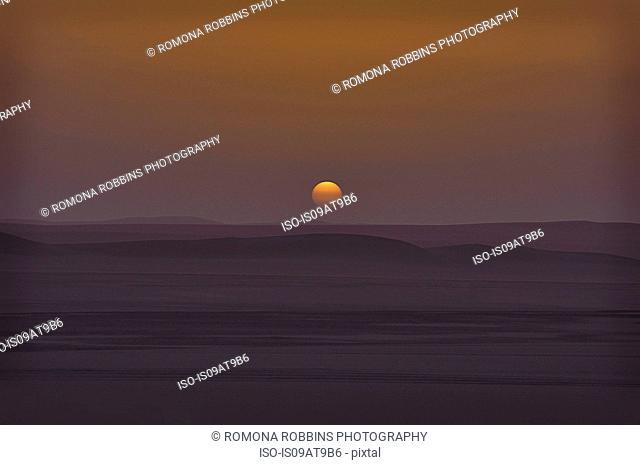 Sun setting over Sahara dessert, Egypt