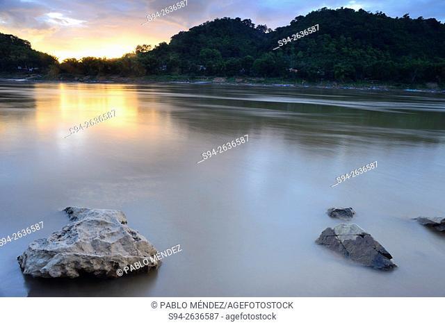 Mekong river landscape at nightfall in Luang Prabang, Laos