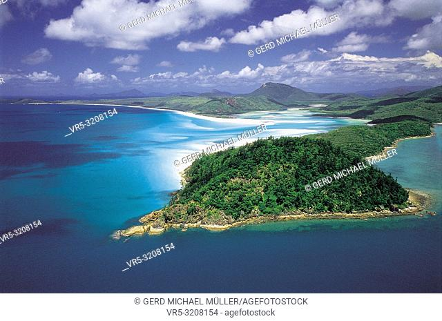 Australia: Aerial of Hill Inlet & Whitehaven Beach, Whitsunday Island