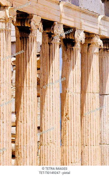 Greece, Athens, Acropolis, Ionic columns of Erechtheum