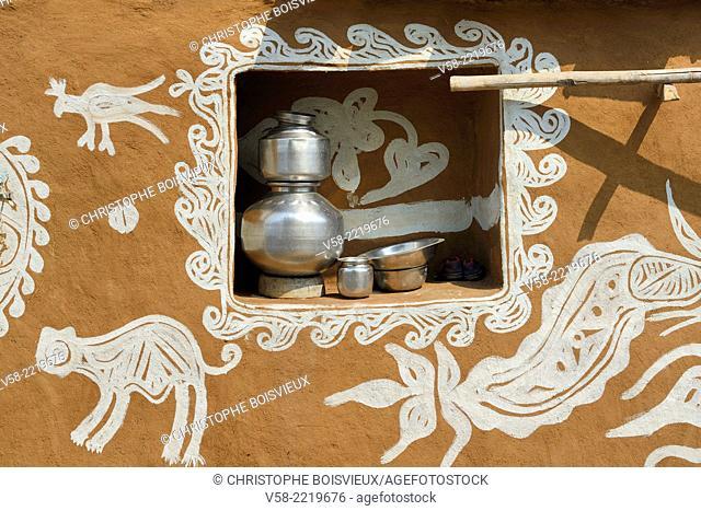 India, Rajasthan, Tonk region, Mandana paintings