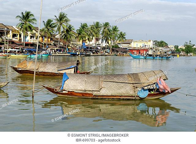 Boats in Hoi An harbour, Vietnam