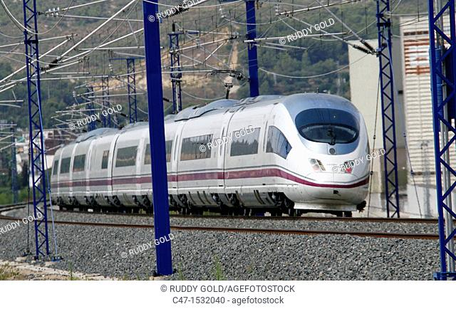 Spain, Catalonia, Tarragona province, High Speed Train, AVE Serie 103 near El Vendrell