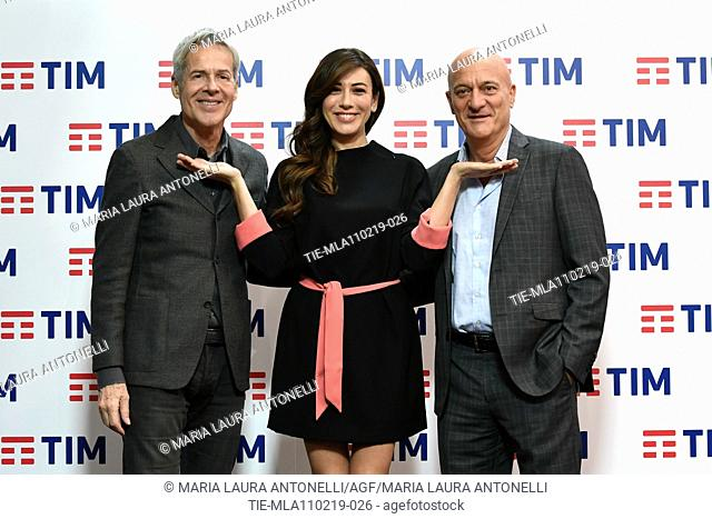 Claudio Baglioni, Virginia Raffaele, Claudio Bisio during the final press conference of 69th Sanremo Music Festival, Sanremo, ITALY- 10-02-2019