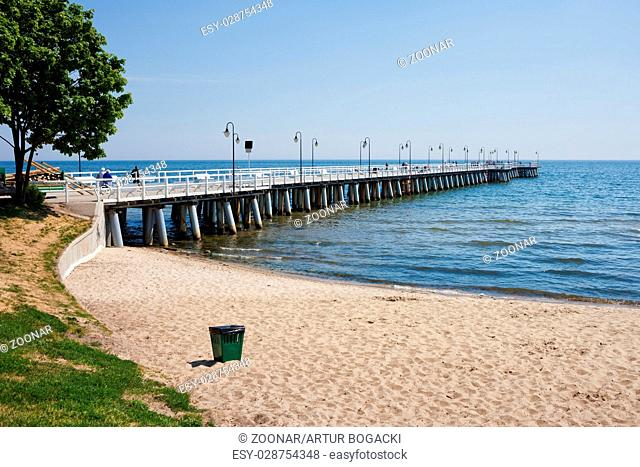 Beach and Pier at Baltic Sea in Gdynia Orlowo