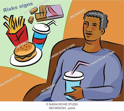 Illustration of the risk signs of diabetes showing an overweight elderly man and junk food