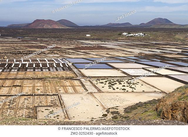 Panorama of the saltworks created by man. Salinas de Janubio, Lanzarote. Spain
