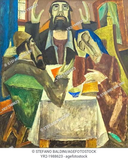 Invocation, 1919, Max Weber, 1881-1961, oil on canvas, cm 119 x 104, vatican museums, Rome, Italy