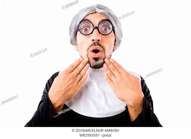 Man wearing nun costume isolated on white