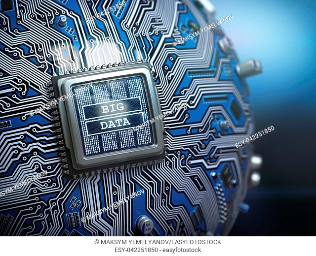 Big data concept. CPU processor with text big data on the spherical futuristic motherboard. 3d illustration