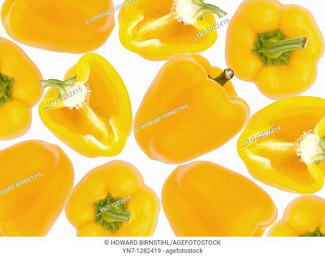 still life of yellow capsicum halves