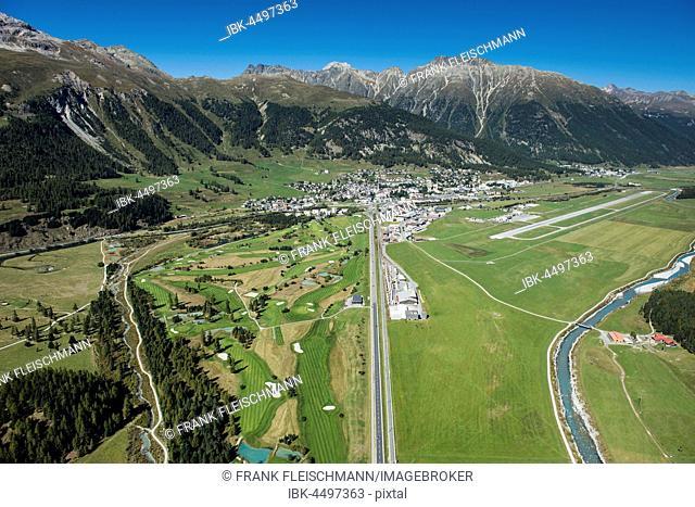 Samedan aerodrome am Inn, Samedan, Engadin Golf Course St. Moritz, Piz Crasta Mora, Piz Ot, Engadin, Canton of Grisons, Switzerland
