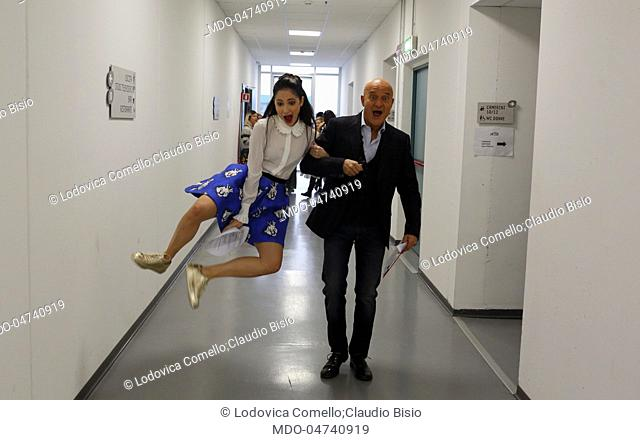 The showgirl Lodovica Comello and the showman Claudio Bisio in the dressing rooms of Kid's Got Talent. Milan, Italy. 16th November 2016