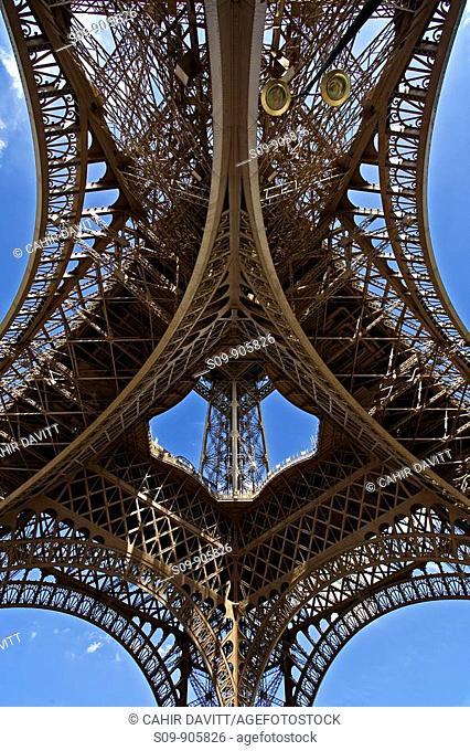 France, Ile De France, Invalides, Paris 16, View of the underside of the Eiffel Tower by Gustav Eiffel