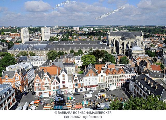 Musee des Beaux Arts, museum of fine arts, Saint Vaast cathedral, city view, overview, Arras, Nord Pas de Calais, France, Europe