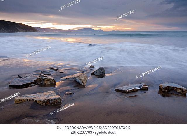 Seaside scenes at Sopelana and Azkorri beachs in Bilbao coastline. Northem Spain