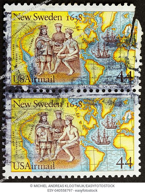 USA - CIRCA 1975: Stamps printed in the USA shows the discovery of New Sweden (1638), circa 1975
