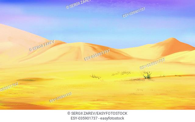 Digital Painting, Illustration of the Sand dunes under a blue sky in a desert. Cartoon Style Character, Fairy Tale Story Background