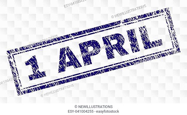 1 APRIL stamp seal imprint with rubber print style and double framed rectangle shape. Stamp is placed on a transparent background