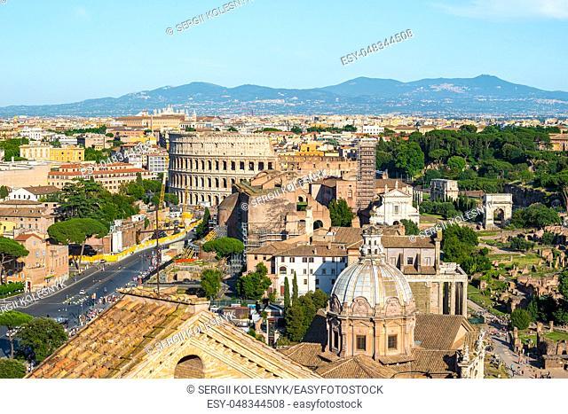 Colosseum and Basilica Santi Giovanni e Paolo in Rome