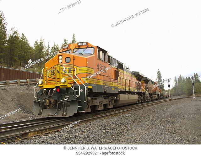 BNSF train in Marshall, Washington, USA