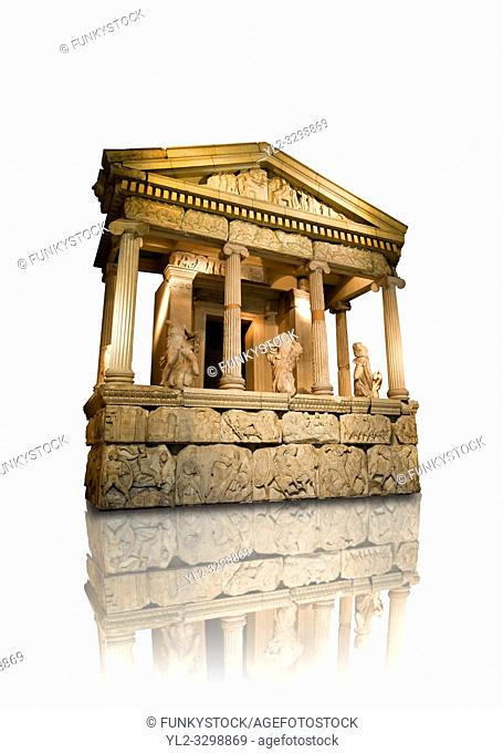 The sculptured 4th cent. B. C Lycian Nereid ( Mythical Greek Sea Nymphs) Monument tomb of Arbina, a Xanthian client ruler of the Persians conquerors of Lycia