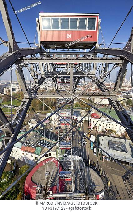 Riesenrad Panoramic Wheel. Prater Park. The oldest ferris wheel in the World. Vienna Austria