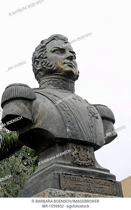Monumental bust of Don Bernardo O'Higgins Riquelme, colonel, captain, La Serena, Norte Chico, Northern Chile, Chile, South America