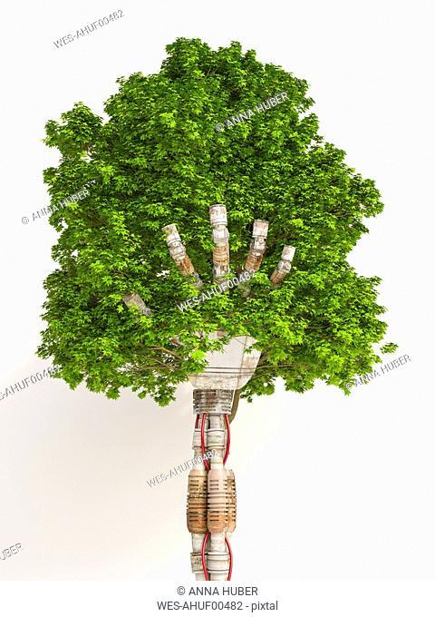 Robot hand holding tree, 3d rendering