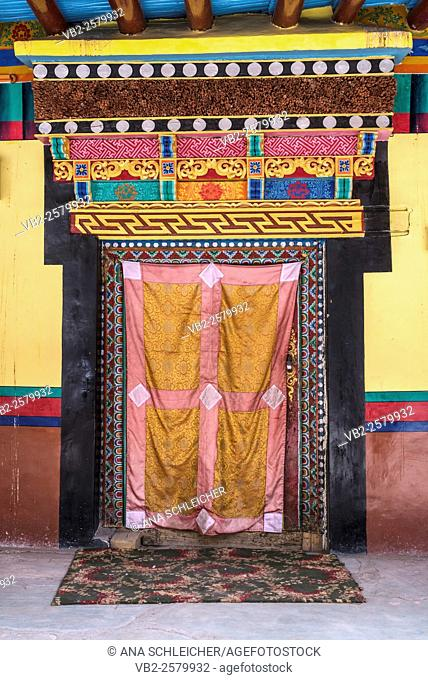 Decorated ancient door. Hemis gompa. Indus valley, Ladakh (india)