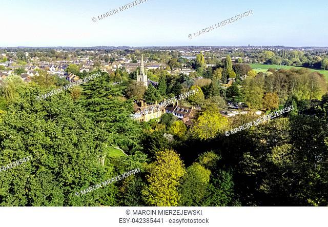 Aerial view of Warwick, Warwickshire, United Kingdom