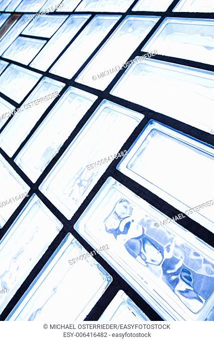 A glass brick wall background. Architecture interior