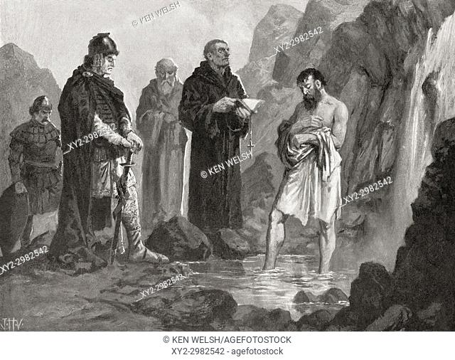 The baptism of Boris I in 864, where he was named Michael after his godfather Emperor Michael III. Boris I aka Boris-Mikhail (Michael) and Bogoris
