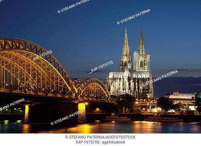 Panoramic view of Hohenzollern Bridge and Cathedral, Cologne, Germany