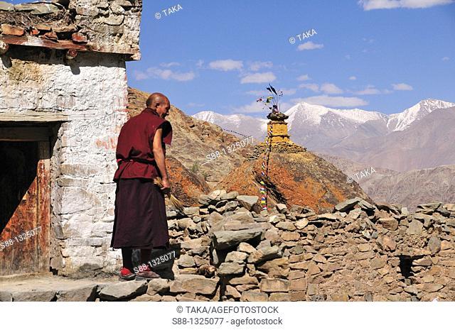 Buddhist monk at Hemis Gompa. Jammu and Kashmir, India