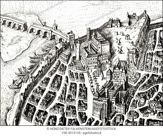 The city of Avignon, southern France, 17th century