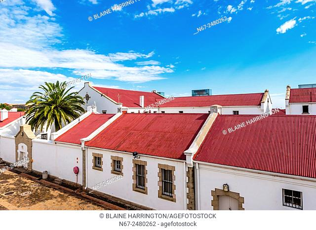 Constitution Hill was a jail that housed Mahatma Gandhi and Nelson Mandela and now is home to the Constitutional Court, Johannesburg, South Africa