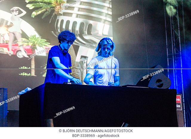 Kiel, Germany - June 25th 2019: The French deep house duo Ofenbach is performing on the Hörn Stage
