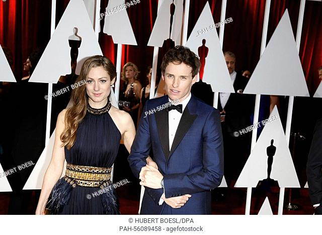 Actor Eddie Redmayne and his wife Hannah Bagshawe attend the 87th Academy Awards, Oscars, at Dolby Theatre in Los Angeles, USA, on 22 February 2015