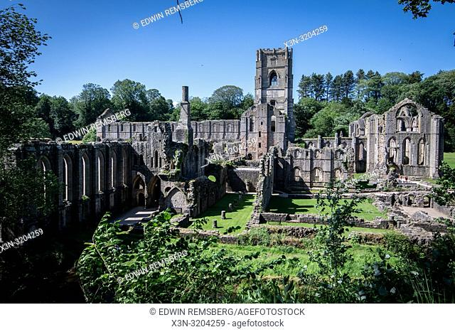 The massive empty framework of the Fountains Abbey is some of the only lasting remnants of the once great monastery, Ripon , Yorkshire, UK